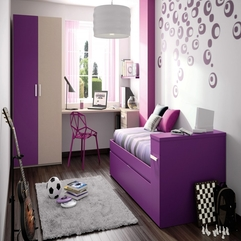 Amazing Contemporary Small Chic Bedroom Design In Purple White - Karbonix
