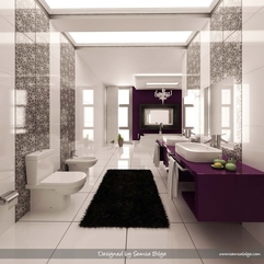 Antique Purple Black And White Bathroom Interior Design Home - Karbonix