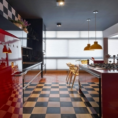 Apartment Red Refrigerator Adding Focal Point To Meet Sleek Black - Karbonix