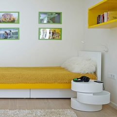 Apartment White Yellow Kids Room Design With Colourful Bed Plus - Karbonix