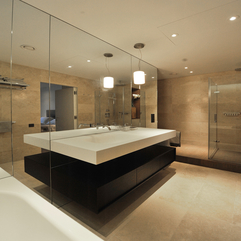 Apartment Wonderful Bathroom Design With Glass Wall Design - Karbonix