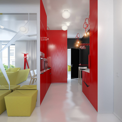 Apartments Beautiful Small Apartment Design Red Black Kitchen - Karbonix