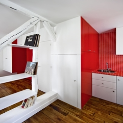 Apartments Ultra Small Apartment With Red And White Interior - Karbonix