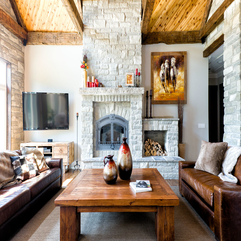 Architecture Cool Stone Fireplace With Elegant Wooden Table And - Karbonix