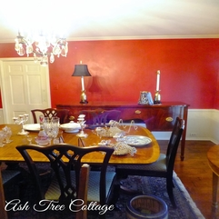 Ash Tree Cottage Newly Painted Red Dining Room - Karbonix