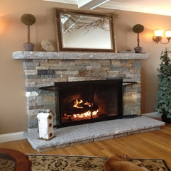 Awesome Natural Stacked Stone Fireplace Mantle With Antique Mirror - Karbonix