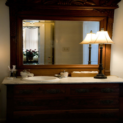 Bathroom Mirrors With Wooden Cabinet Idea - Karbonix