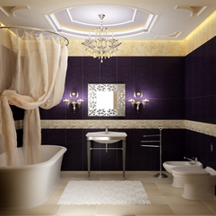 Bathroom Nice Crystall Lamp White Rugs Dark Marmer Wall Cool - Karbonix