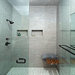 Bathroom With Glass Door Simple Grey - Karbonix
