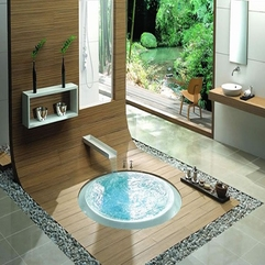 Bathtub With Small Waterfall Integrated Round - Karbonix