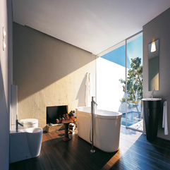 Bathtube Together Fashionable Bathroom Closet With Brown Parquette Floor White Modern - Karbonix