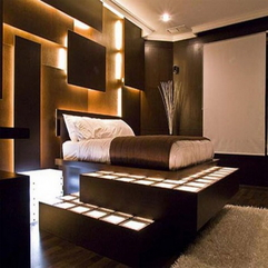 Bedroom Lovely Bed Level With Awesome Lighting And Amazing Wall - Karbonix