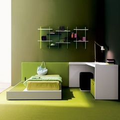 Bedroom With Green Accent Minimalist Teenage - Karbonix