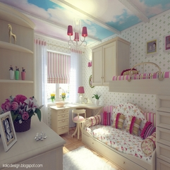 Bedroom With Trundle Beds And Cloud Ceiling Mural By Irako Design Impressive Girls - Karbonix
