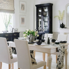 Black And White Dining Room With Parson Cahors And Black Cario - Karbonix