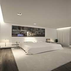 Blanket Pillows Placed Under Painting Bedroom White Bed - Karbonix