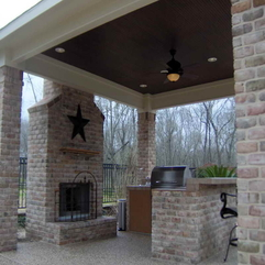 Brick Material Outdoor Porches With Fireplaces - Karbonix