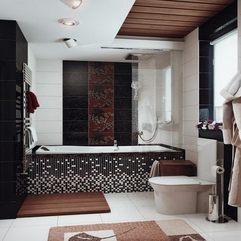 Brown Bath Decor Ideas With Ceramic Tile Decor Black White - Karbonix