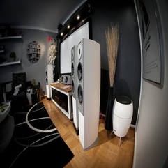 Brown Home Audio Equipments From The Right Side White And - Karbonix