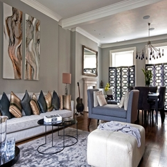 Brown Striped Grey Cushions Combined With Grey Couch White Pouffe Living Room White Sofa - Karbonix
