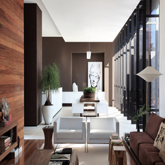 Brown White Sofa With Black White Painting On Brown Wall In Modern Style - Karbonix