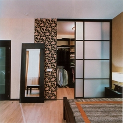 Built In Wardrobe Closet With Blur Glass Door In Modern Style - Karbonix