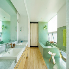 Calm Bathroom With Clean Brown Wooden Floor Cool Rectangle Bathtube In Green - Karbonix