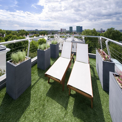 Chairs Roof Top Balcony With Green Grass Floor Two Lounge - Karbonix