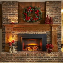 Charming Electric Fireplace On The Bricks Wall And Floor Tile - Karbonix