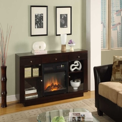 Chic Electric Fireplace On Multifunctional Wooden Table And Racks - Karbonix