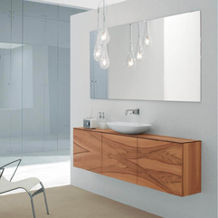 Clean Glass Bathroom With Minimalist Wooden Cabinet - Karbonix