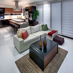 Coloful Cushions With Wooden Table Black Surface On White Floor White Sofa - Karbonix