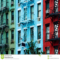 Colorful Apartment Buildings With Fire Escapes Royalty Free Stock - Karbonix