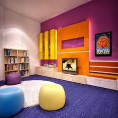 Colorful Library Interior Multimedia Room Wth Round Seat And Rug - Karbonix