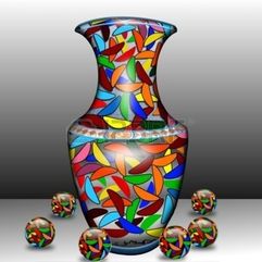 Colorful Vase Vase Shaped Bananas To Areas Of The Carpet Royalty - Karbonix