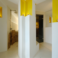 Combined With Striking Yellow Accents White Hallway - Karbonix
