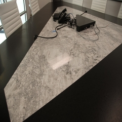 Conference Table Design With Black White Color Viewed From Above Granite - Karbonix