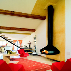 Contemporary Wall Mounted Fireplace Gas Open Hearth PAXFOCUS - Karbonix