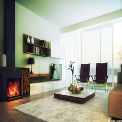 Contemporary White Living Room Design With Amazing Wooden Flat - Karbonix