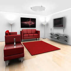 Couch Also Rug With Home Plasma Lcd Plasma Tv The White Wall Red Sofa - Karbonix