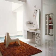 Cute Bathroom Design With Orange Rug Unique And - Karbonix
