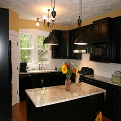 Dark Color With Marble Table Kitchen Designs - Karbonix