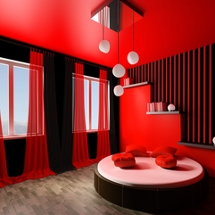 Decorating Breathtaking Red Dining Room Ideas Designs With Round - Karbonix
