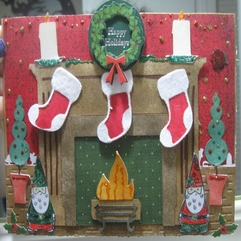 Decorations Charming Fireplace Christmas Card With Lovely Red - Karbonix