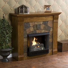 Decorations Sensational Wooden Fireplace And Laminated Floor Also - Karbonix
