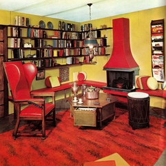 Design In The Home Library Retro Interior - Karbonix