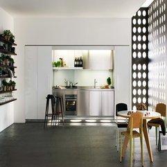 Design With Wooden Floor White Kitchen - Karbonix