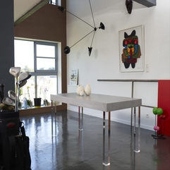 Dining Room Wonderfull White Wooden Table With Stainless Steel - Karbonix