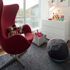 Best Inspirations : Dolls On Red Lounge Chair With High Backrest Near Rounded Black Ornaments Cute - Karbonix