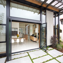 Door With Black Wooden Pillars For Eco Friendly Home Glazed - Karbonix